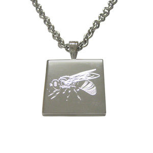 Silver Toned Etched Bee Pendant Unisex Necklace